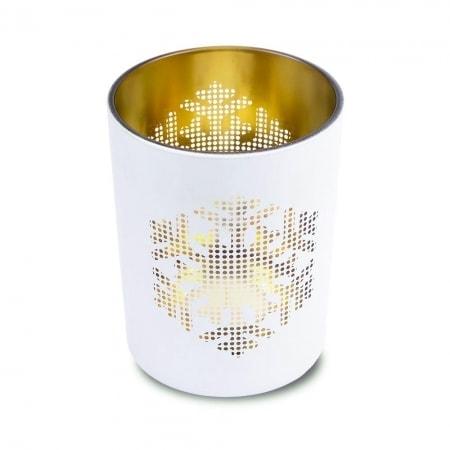 Schneeflocke Kerzenglas mit Teelicht 100/80 mm