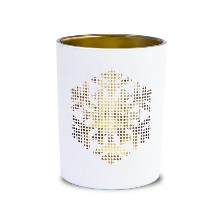 "Kerzenglas ""Schneeflocke"" mit Teelicht 100/80 mm"