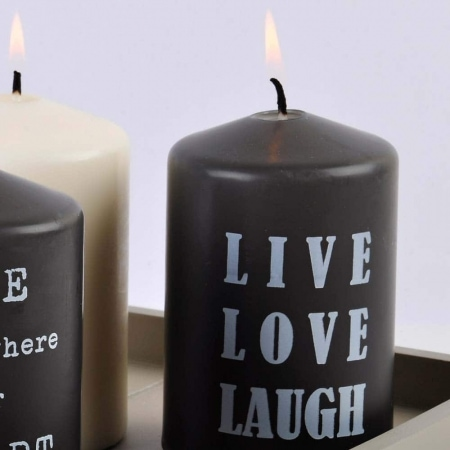 """Live, Love, Laugh"" BSS-Stumpen mit Spruch, grau"
