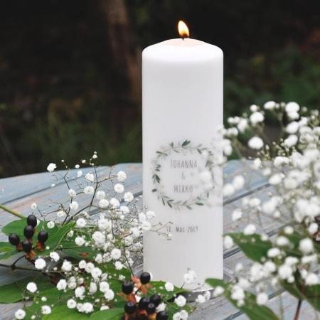 """Hochzeitskerze """"Kranz"""" 250/78, individuell mit Namen und Daten bedruckt"""