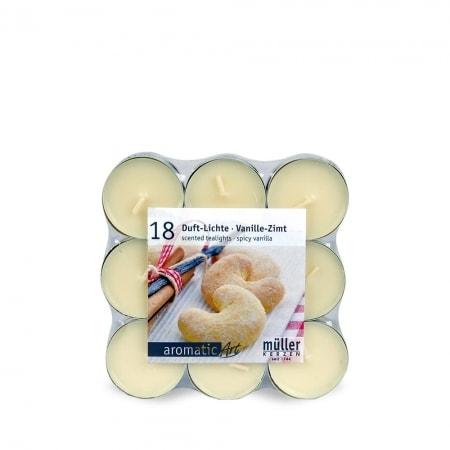 Duft-Lichte, 18er Flat Pack, spicy vanilla