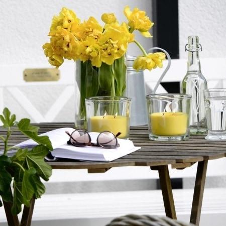 """Zwei-Docht-Kerzenglas """"Finca"""" 120/123, gelb"""