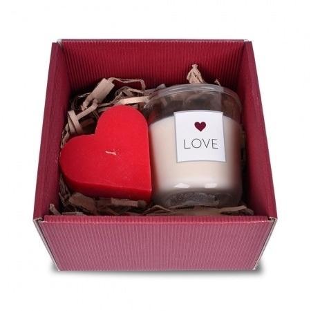 Geschenkbox mit Liebe, Duftglas und Kerze in Herzform