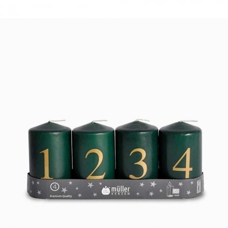 4 Adventskerzen 90/55 mit Zahlendruck und BSS-Durchbrandsperre