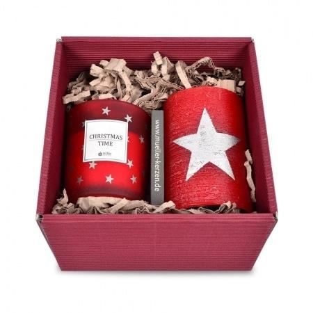Geschenkbox mit Polarstumpen und Kerzenglas Galaxy