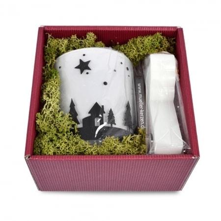 Geschenkbox mit Kerzenglas mit Engel-Kerze