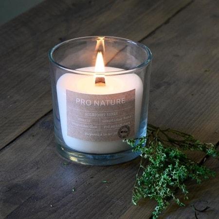 "Stearin-Kerzenglas ""PRO NATURE"", mit Holzdocht"