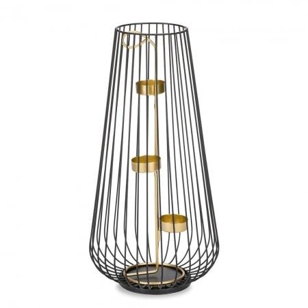 Metall-Windlicht für 3 Teelichte