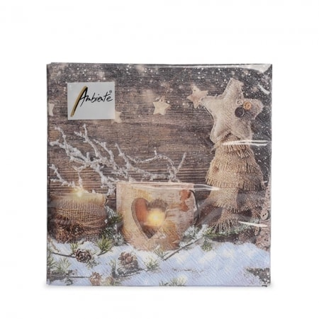 Servietten Weihnachten natur, 20 Stück