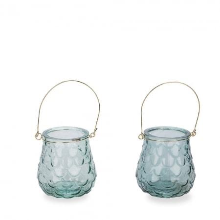 Glas-Windlichte mit Henkel, 11 cm, 2er Set