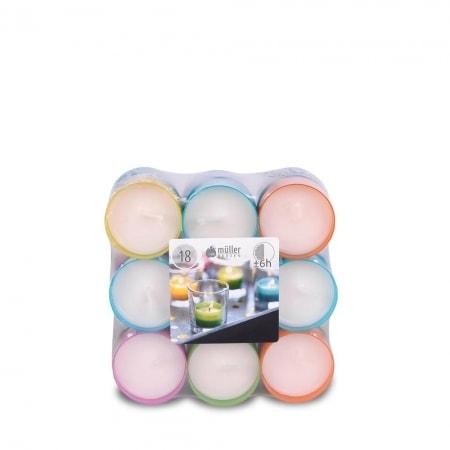 6h-Teelichte im 18er Flatpack, farbige Cups