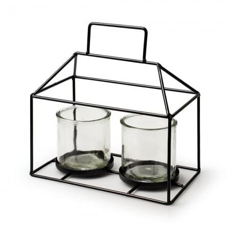 Metall Glashaus + 2 Gläser