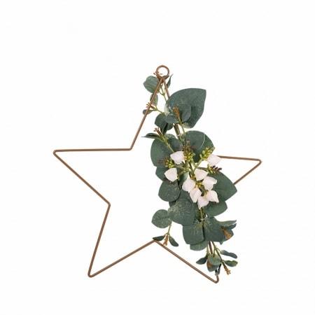 Deko-Stern mit Blumenschmuck, 30 cm