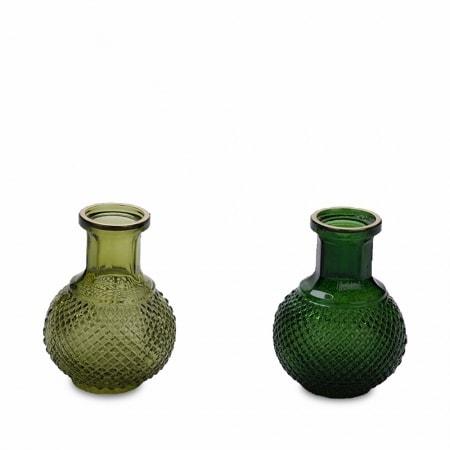 Glasvasen in grün, 2er-Set