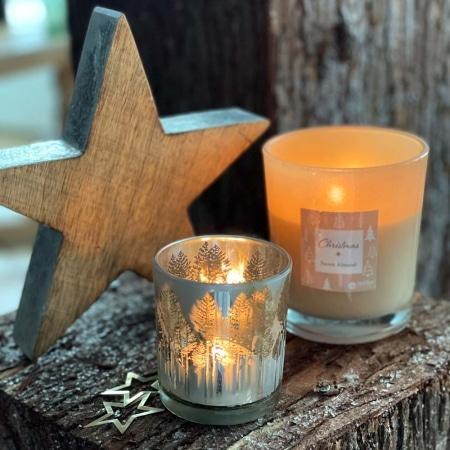 Kerzenglas in silber, 7 cm