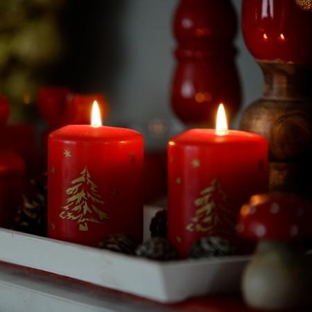 "Stumpenkerze ""Christmas"" 100/68 mm mit BSS-Durchbrandsperre"