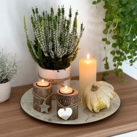 Holz-Kerzenhalter mit Anhänger, 2er-Set